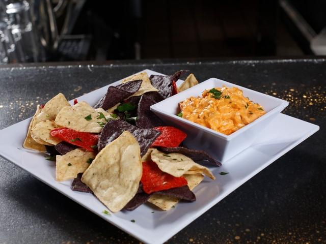 Buffalo Chicken Dip with Tri-color Tortilla & Pita Chips